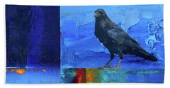 Beach Towel featuring the digital art Blue Raven by Nancy Merkle
