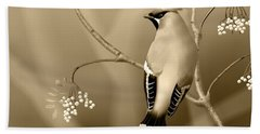 Beach Towel featuring the digital art Bohemian Waxwing In Sepia by John Wills