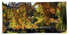 Beach Towel featuring the photograph Boston Public Garden - Lagoon Bridge by Joann Vitali