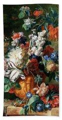 Bouquet Of Flowers In An Urn Beach Sheet