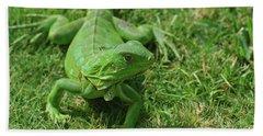 Bright Green Iguana In Grass Beach Towel by DejaVu Designs