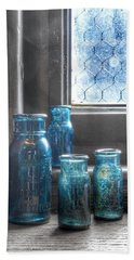 Bromo Seltzer Vintage Glass Bottles Beach Sheet