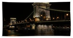 Beach Towel featuring the photograph Budapest At Night. by Jaroslaw Blaminsky