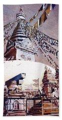 Beach Towel featuring the painting Buddhist Stupa- Nepal by Ryan Fox