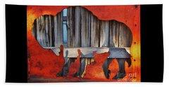 Wooden Buffalo 1 Beach Sheet by Larry Campbell