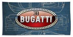 Bugatti 3 D Badge Over Bugatti Veyron Grand Sport Blueprint  Beach Towel