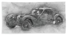 Bugatti Type 57 - Atlantic - 1934 - Automotive Art - Car Posters Beach Towel