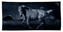 By The Light Of The Silvery Moon Beach Towel by Karen Slagle