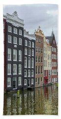 Canal Houses In Amsterdam Beach Towel by Patricia Hofmeester