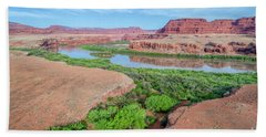 Canyon Of Colorado River In Utah Aerial View Beach Towel