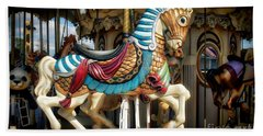 Beach Towel featuring the photograph Carousel Horse by Kathy Baccari