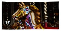Beach Towel featuring the photograph Carousel Horses by Steve Purnell