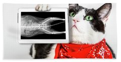 Cat With X Ray Plate Beach Towel