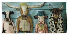 Cattle Line Up Beach Towel