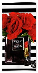 Chanel Perfume With Red Roses Beach Towel