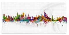Chicago And New York City Skylines Mashup Beach Towel