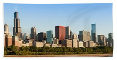 Chicago Downtown At Sunrise Beach Towel by Semmick Photo