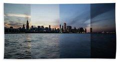 Chicago Skyline Time Slice  Beach Towel