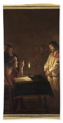 Christ Before The High Priest Beach Towel by Gerrit van Honthorst