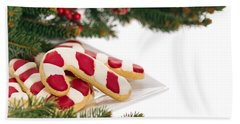 Christmas Cookies Decorated With Real Tree Branches Beach Sheet