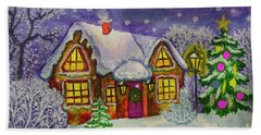 Christmas House, Painting Beach Towel