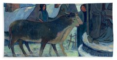 Christmas Night The Blessing Of The Oxen Beach Towel