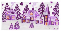 Christmas Picture In Raspberry Pink Colours Beach Towel