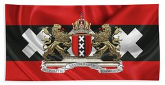 Coat Of Arms Of Amsterdam Over Flag Of Amsterdam Beach Towel by Serge Averbukh