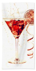 Cocktail Drinks Glass Watercolor Beach Towel