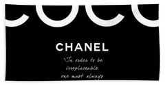 Coco Chanel Irreplaceable Quote Beach Towel