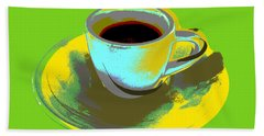 Beach Sheet featuring the digital art Coffee Cup Pop Art by Jean luc Comperat