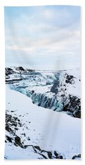 Cold Winter Day At Gullfoss, Iceland Beach Towel