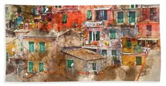 Colorful Homes In Cinque Terre Italy Beach Sheet