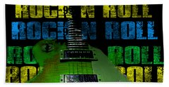 Beach Towel featuring the photograph Colorful Music Rock N Roll Guitar Retro Distressed  by Guitar Wacky