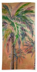 Copper Trio Of Palms Beach Sheet by Kristen Abrahamson