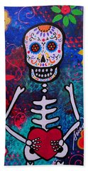 Corazon Day Of The Dead Beach Towel