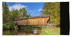 Beach Towel featuring the photograph Corbin Covered Bridge Newport New Hampshire by Edward Fielding