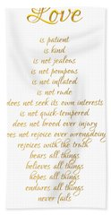 1 Corinthians 13 Love Is White Background Beach Sheet