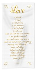 1 Corinthians 13 Love Is White Background Beach Towel