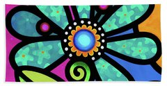 Cosmic Daisy In Aqua Beach Towel