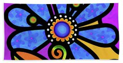 Cosmic Daisy In Blue Beach Towel