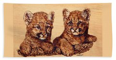 Beach Sheet featuring the pyrography Cougar Cubs by Ron Haist
