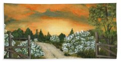Beach Towel featuring the painting Country Road by Anastasiya Malakhova