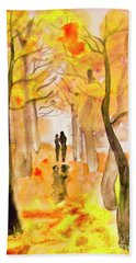 Couple On Autumn Alley, Painting Beach Towel