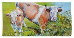 Cow And Calf Painting Beach Sheet