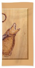 Beach Sheet featuring the pyrography Coyote by Ron Haist