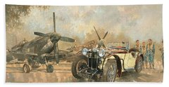 Cream Cracker Mg 4 Spitfires  Beach Towel