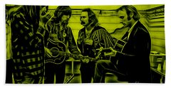 Crosby Stills Nash And Young Beach Sheet by Marvin Blaine