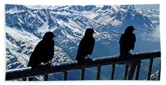 Beach Towel featuring the photograph Crows On Top Of Mount Titlis - Switzerland by Joseph Hendrix