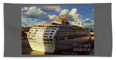 Beach Towel featuring the photograph Cruise Ship In Port by Gary Wonning